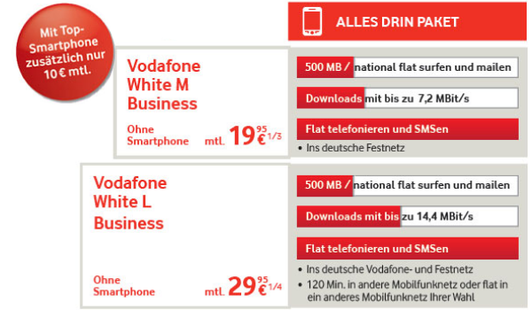 Vodafone White Business Tarife