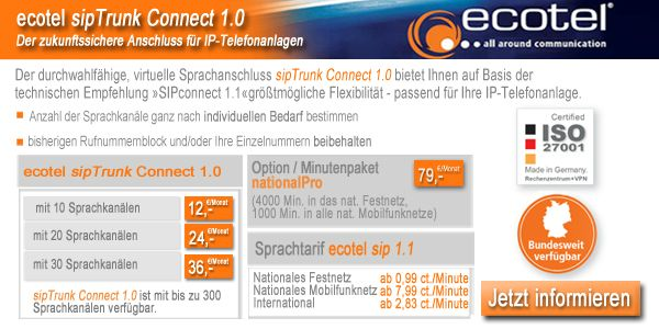 Ecotel sipTrunk Connect